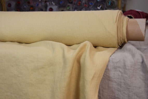 Pure 100% linen fabric Gloria Laguna Yellow 190gsm. Muted, not bright mellow yellow. Middle weight, dense, washed-softened.