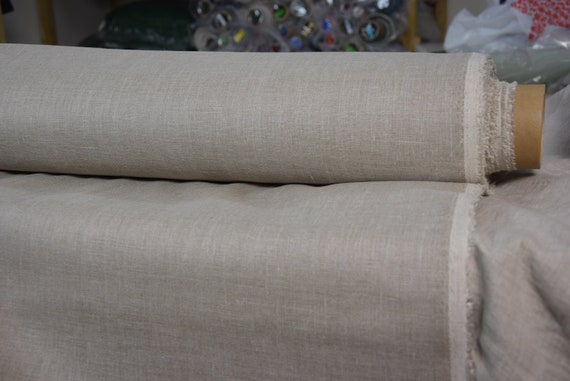 Pure 100% linen fabric Gloria Water-Pro Natural 245gsm. Water&mud repellent, waterproof, water-resistant, waxed undyed flax.