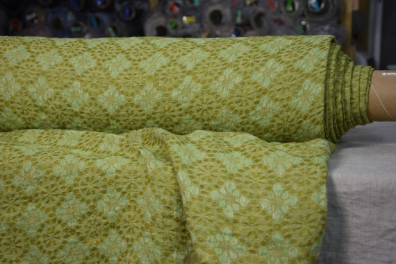 100% linen fabric Flora Vernal 155gsm, floral geometric pattern, woven from different green and yellow colors, washed-softened.