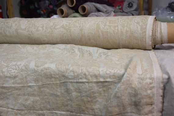 """Pure 100% linen fabric Nora Beige Marine Jacquard 210gsm (6.20 oz/yd2). Washed-softened. Pre-shrunk. The last piece 1.60x1.45m(63x57"""")!"""