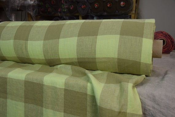 Pure 100% linen fabric Margarita Gameboard Pattern Olive/Lime 190gsm. Muted olive and yellowish-lime 8cm checks. Washed-softened.