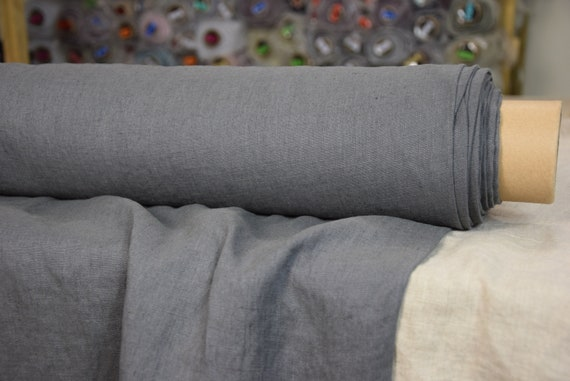 WHOLESALE. Pure 100% linen fabric Gloria Whale Gray 190gsm. Quiet mid-tone gray with a little hint of cool blue. Washed-softened