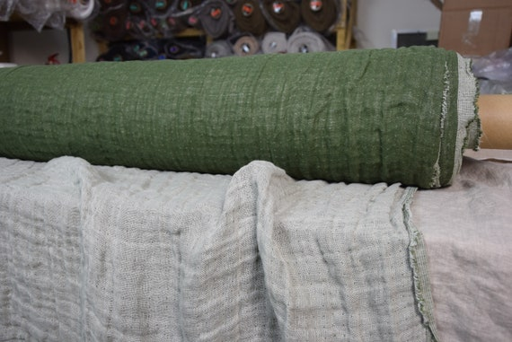 Pure linen fabric Vita Moss Green 230gsm (6.80oz/yd2). Fluffy double-faced, two sided. Washed-softened.