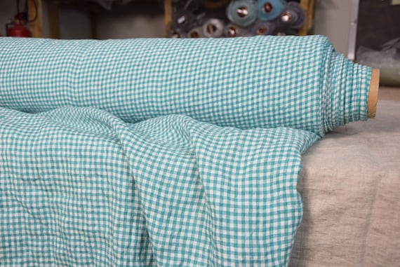 Pure 100% linen fabric Aurora Aloe Green Gingham 160gsm(4.80oz/yd2). Small 4mm vichy check. Washed-softened, pre-shrunk, naturally wrinkled.