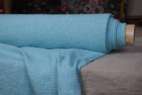 """Pure 100% linen fabric Terra Turquoise Gingham 210gsm (6.20oz/yd2). Width 145cm (57""""). 2mm vichy checks. Washed-softened. Pre-shrunk."""