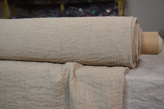 "Linen/Cotton fabric Grina Beige 350gsm. Fluffy double-faced, two sided.  Washed-softened. The last piece 1.00mx1.45m= 39"" x 57""!"