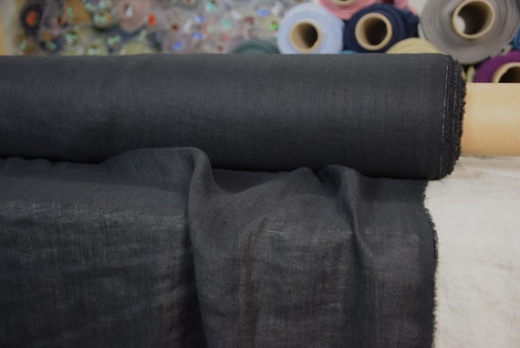 Very thin 95gsm semi-sheer pure 100% linen fabric Serena Black. Washed-softened.