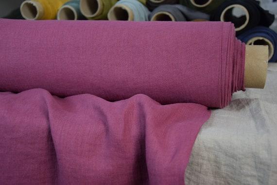 Pure 100% linen fabric Gloria Vintage Claret 190gsm.  Deep mid-tone purplish-pink, dimmed-darkened-muted.  Washe-softened.