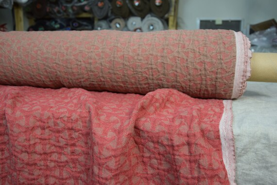 Pure linen fabric Vita Red 220gsm. Fluffy double-faced, two sided.  Washed-softened.
