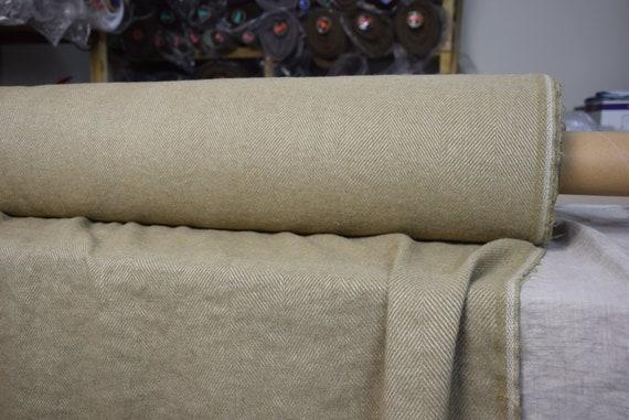Linen/wool 52/36% fabric Dora Greened Beige Herringbone 270gsm. Washed, softened, pre-shrunk.
