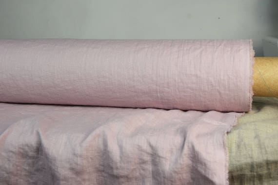 "SWATCH (sample) 12x12cm (5x5""). Pure 100% linen fabric Aura Dogwood Pink 125gsm. Grayish-rose. Light weight, dense, washed-softened."