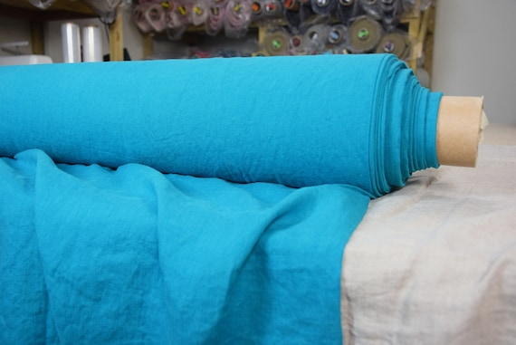 Pure 100% linen fabric Gloria Deep Blue Turquoise 190gsm.  Middle weight, dense, washed-softened.