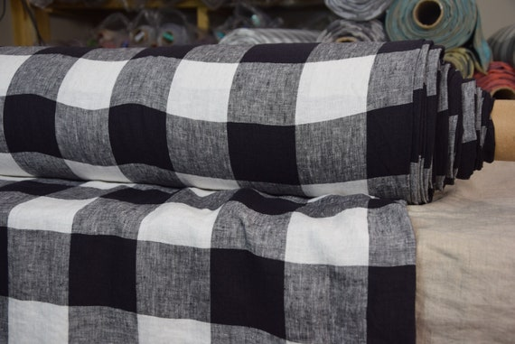 Pure 100% linen fabric Margarita Gameboard Pattern Black-White 190gsm.  8cm checks. Washed-softened.