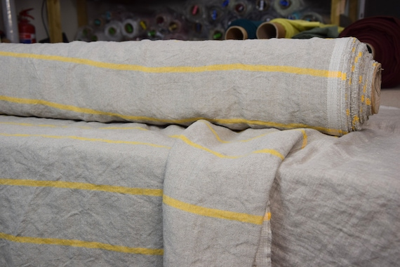 Pure 100% linen fabric Pera Breton Stripes Yellow 350gsm. Undyed flax, horizontal yellow stripes.