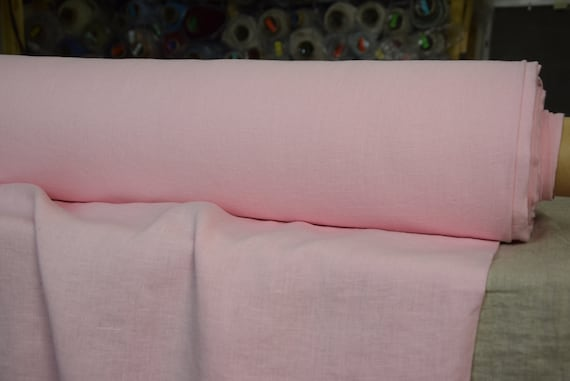 Pure 100% linen fabric Gloria Candy Pink 190gsm. Middle weight, plain, stone washed, softened.