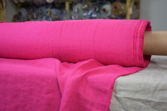 Pure 100% linen fabric Gloria Hot Pink 190gsm. Middle weight, dense, washed-softened.