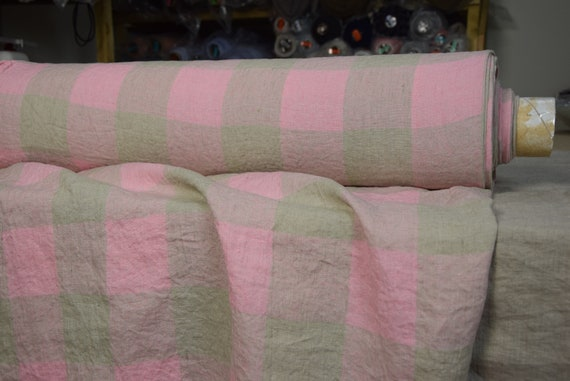 Pure 100% linen fabric Terra Gameboard Pattern Pink/Geenish 210gsm (6.20oz/yd2). 8cm checks. Washed-softened.