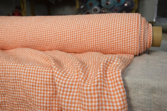 Pure 100% linen fabric Aurora Tangy Orange Gingham 160gsm(4.80oz/yd2). 4mm vichy checks. Washed-softened, pre-shrunk, naturally wrinkled.