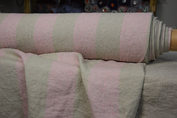 Pure 100% linen fabric Terra Pink/Geenish Wide Striped 210gsm (6.20oz/yd2). 8cm stripe. Washed-softened.