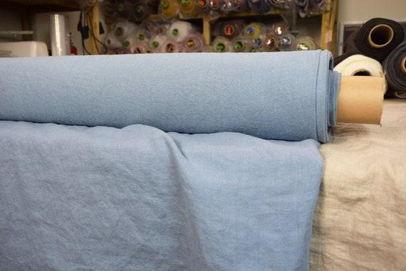 "SWATCH (sample) 12x12cm (5x5""). Pure 100% linen fabric Luna Celestial Blue 290gsm. Pastel blue. Heavy, washed-softened, dense, homespun."