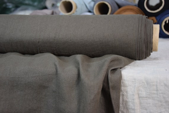 Pure 100% linen fabric Augusta Safari Brown 160gsm. Washed-softened, pre-shrunk.