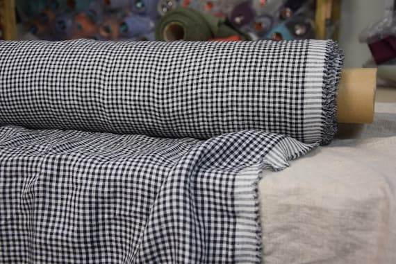 """Pure 100% linen fabric Augusta Black Gingham 150gsm (4.50 oz/yd2). Washed-softened. Widht 145cm (57"""")."""