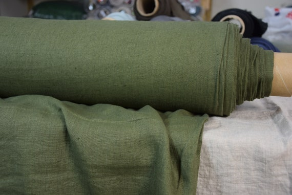 """Pure 100% linen fabric Gloria Aged Khaki Green 190gsm. Middle weight, washed-softened. The last piece 0.60mx1.45m=24""""x57""""!"""