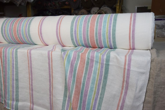100% linen fabric Allegra Striped Herringbone 310gsm. Stripes on off-white background. Washed-softened, pre-shrunk.