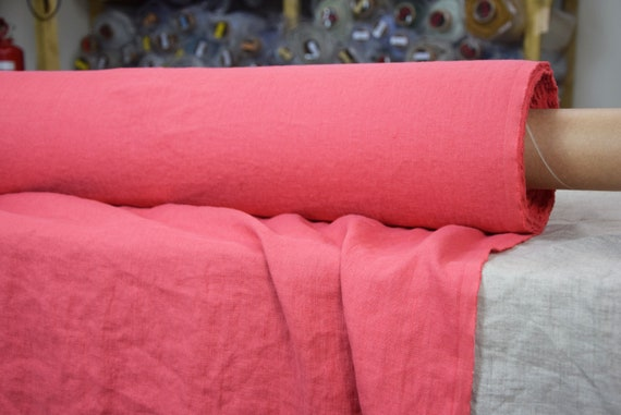 Pure 100% linen fabric Gloria Fresh Salmon 190gsm. Salmon rose color. Middle weight, dense, washed-softened.