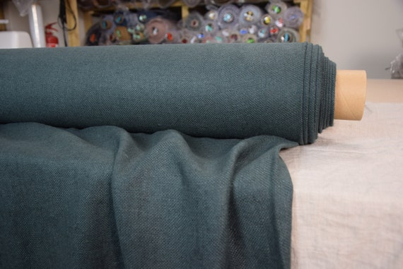 Pure 100% linen fabric Mira Smoke Pine 370gsm. Dark blackened green-gray color.  Heavy, thick, soft canvas. Washed-softened.