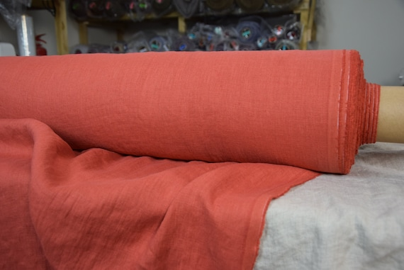 Pure 100% linen fabric Gloria Flame 190gsm. Bold but not too bright deep orange-red. Middle weight, dense, washed-softened.