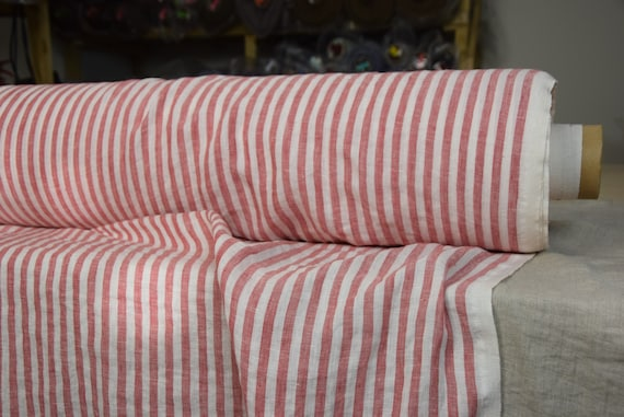 Pure 100% linen fabric Aura Bengal Stripes Red White 125gsm. Stripes are 8mm width. The fabric is thin, washed-softened, pre-shrunk .