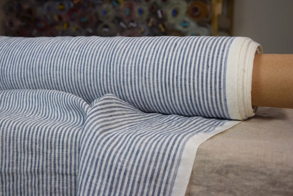 Pure 100% linen fabric Aura Navy Striped 125gsm. White / dark blue stripes 3mm. Light weight, thin, washed-softened.