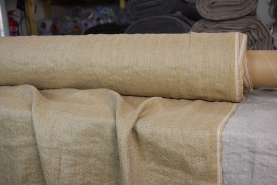 Pure 100% linen fabric Paloma Sandy Tan Herringbone 220gsm. Undyed flax/ brownish. Washed-softened.