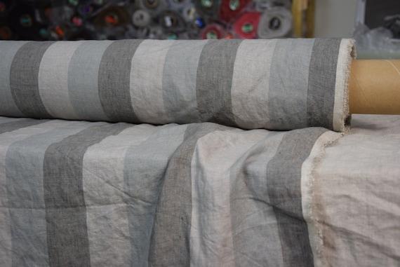 "Pure 100% linen fabric Margarita Roman Stripes Gray 190gsm(5.60 oz/yd2). Melange 5cm(2"") stripes. Washed-softened, pre-shrunk."