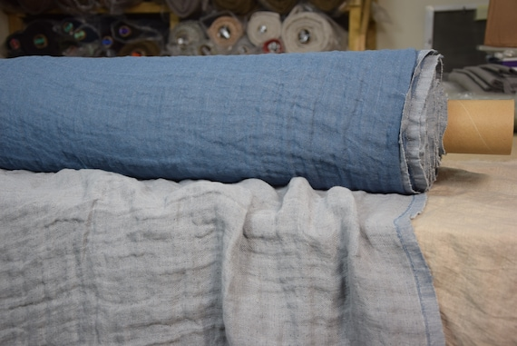 Pure linen fabric Vita Blueberry 230gsm (6.80oz/yd2). Fluffy, double-faced, two sided. Oposite side - gray. Washed-softened, preshrunk.