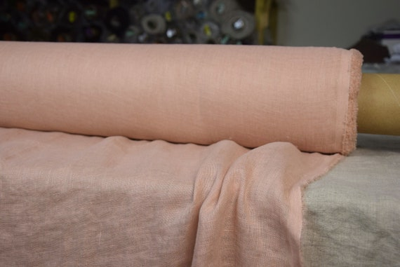 Very thin 95gsm semi-sheer pure 100% linen fabric Serena Pastel Rose Tan 95gsm. Muted pastel pink. Washed-softened.