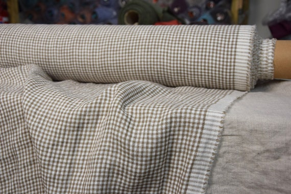 """Pure 100% linen fabric Augusta Light Brown Gingham 150gsm (4.50 oz/yd2). Washed-softened. Widht 145cm (57"""")."""