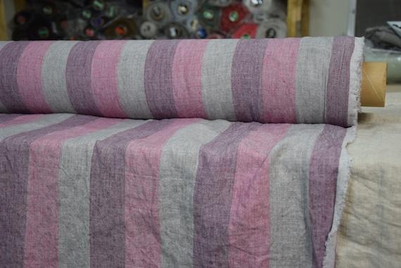 "Pure 100% linen fabric Margarita Roman Stripes Gray Pink Purple 190gsm(5.60 oz/yd2). Melange 5cm(2"") stripes. Washed-softened, pre-shrunk."