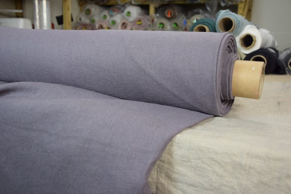 Pure 100% linen fabric Prana Lilac Gray 380gsm. Washed/Pre-shrunk. Eco-friendly material for upholstery, curtains, furnishing, accessories.