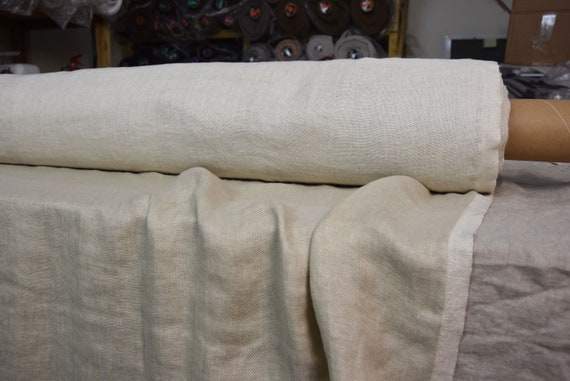 Pure linen fabric Vita Beige 230gsm (6.80oz/yd2). Fluffy, double-faced, two sided. Oposite side - off-white. Washed-softened, preshrunk.