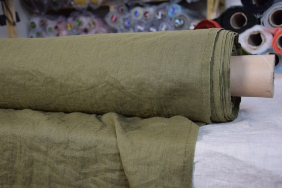 Pure 100% linen fabric Gloria Camouflage Green 190gsm. Olive-khaki-green color often used in army. Densely woven, washed-softened.