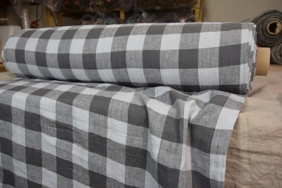 Pure 100% linen fabric Margarita Chessboard Check Cool Gray 190gsm. Dark gray and light cool gray 4.50cm checks. Washed-softened.