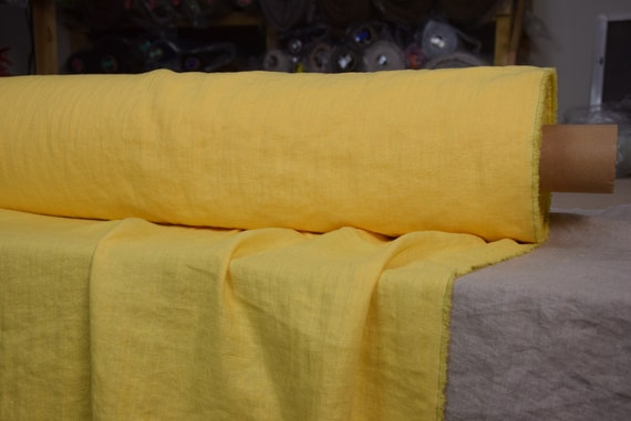 Pure 100% linen fabric Gloria Sunburst Yellow 190gsm(5.60oz/yd2). Bright sunny yellow. Middle weight, densely woven, washed-softened.