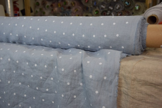 Pure 100% linen fabric Gloria Cashmere Blue Polka Dot 190gsm. White dots on pastel soft blue.  Washed-softened.
