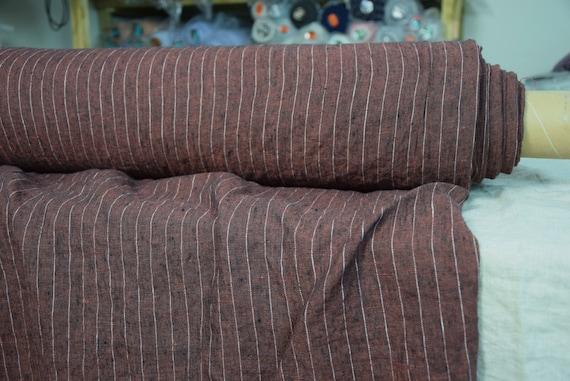 Pure 100% linen fabric Terra Maroon Melange Pinstripes 210gsm (6.20oz/yd2). Dark reddish-brown striped pattern. Washed-softened.