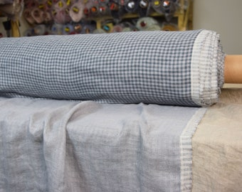 100% pure linen fabric 240gsm. Double-faced, soft. Double-sided, gray gingham, small checks, other side - gray. Washed-softened.