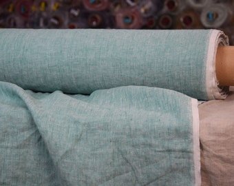 Pure 100% linen fabric 190gsm. Melange chambray - green/white colors (Ariel Green). Medium weight, washed-softened.
