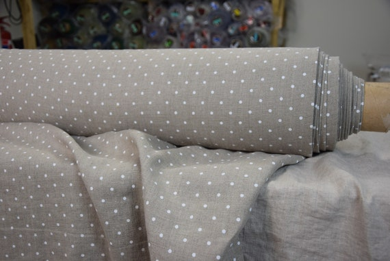 Pure 100% linen fabric Gloria Natural Polka Dot White 190gsm. White dots on natural undyed flax background. Washed-softened.