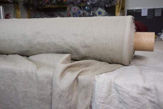 Pure 100% linen fabric Gloria Brush Beige 190gsm. Gray-beige color. Middle weight, densely woven, washed-softened.